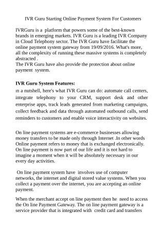IVR GURU STARTED ONLINE PAYMENT SYSTEM FOR CUSTOMERS