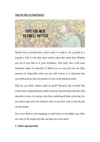 Tips for Men To Smell Better