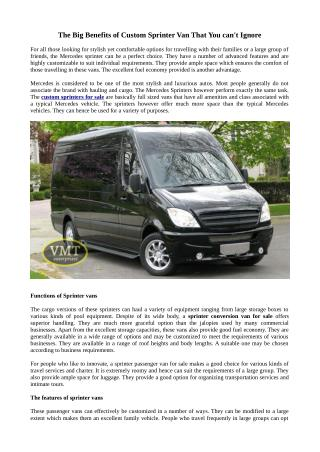 The Big Benefits of Custom Sprinter Van That You can't Ignore