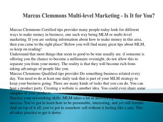Marcus Clemmons Multi-level Marketing - Is It for You?