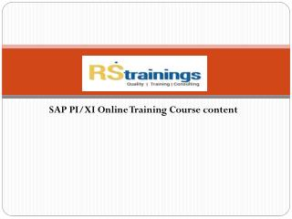 SAP XI/PI online Training course content