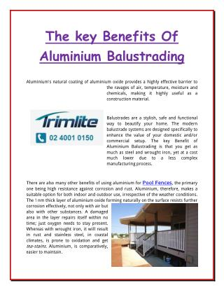 The key Benefits Of Aluminium Balustrading