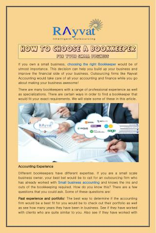 How to choose a bookkeeper for your small business