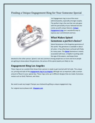 Finding a Unique Engagement Ring for Your Someone Special