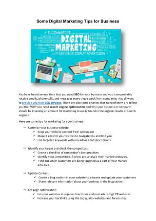 Some Digital Marketing Tips for Business