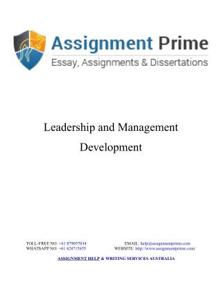 Sample Assignment on Leadership & Management Development