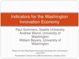 Indicators for the Washington Innovation Economy