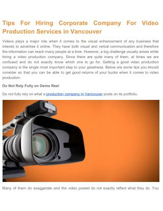 Hire A Corporate Company For Video Production Services in Vancouver