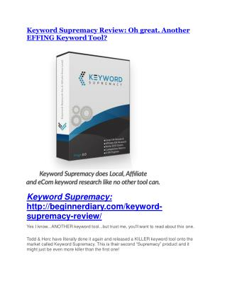 Keyword Supremacy review and Keyword Supremacy $11800 Bonus & Discount