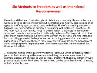 Six Steps to Freedom and Intentional Responsiveness