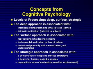 Concepts from  Cognitive Psychology