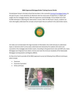 NMLS Approved Mortgage Broker Training Courses Florida