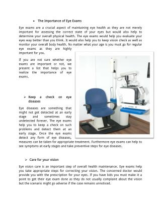 Importance of Eye Exams