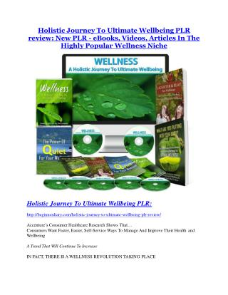 Holistic Journey To Ultimate Wellbeing 270 PLR Review demo - $22,700 bonus