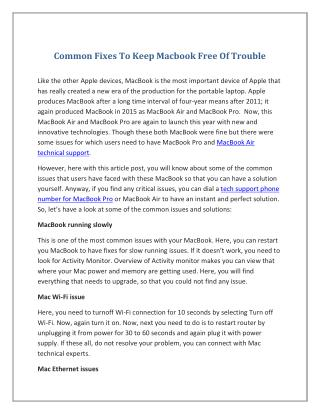Common Fixes To Keep Macbook Free Of Trouble