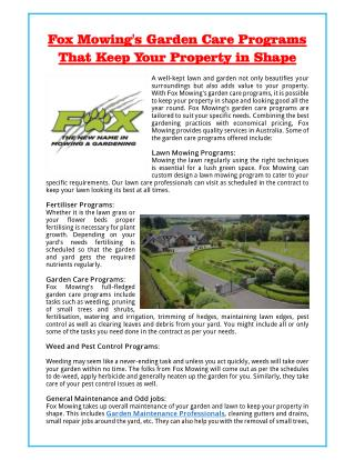 Fox Mowing's Garden Care Programs That Keep Your Property in Shape
