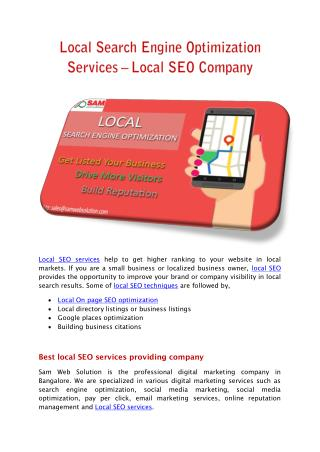 Local Search Engine Optimization Services – Local SEO Company