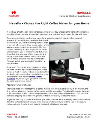 Havells Choose the Right Coffee Maker for your Home
