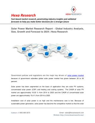 Solar Power Market Research Report - Global Industry Analysis, Size, Growth and Forecast to 2024 | Hexa Research