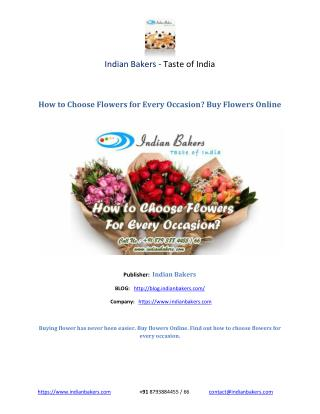 How to Choose Flowers for Every Occasion? Buy Flowers Online