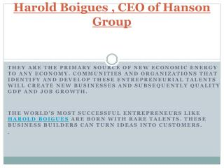 Harold Boigues , CEO of Hanson Group