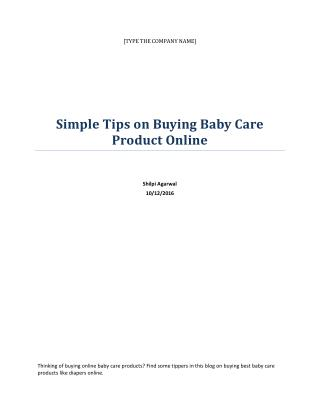 Simple Tips on Buying Baby Care Product Online