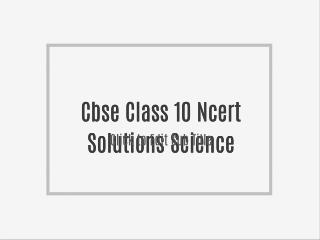 Cbse Class 10 Study Material Free