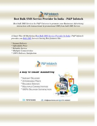 Best Bulk SMS Service Provider In India - P&P Infotech