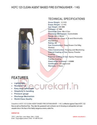 Ceasefire Designer HCFC 123 Clean Agent Based Extinguisher – 1 Kg Specifications & Features