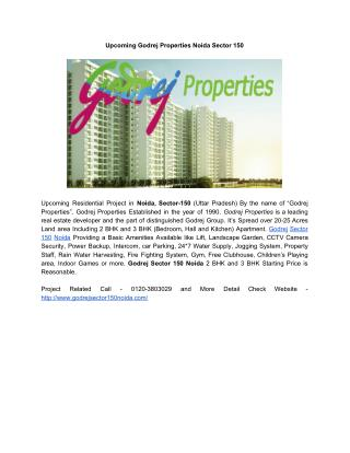 Upcoming Godrej Properties Noida Sector 150