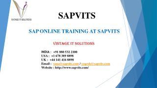 SAPVITS SAP Online Training Material