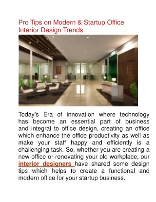 Office Interior Design Tips by Delhi Best Interior Designers