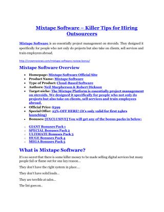 Mixtape Software Review & (Secret) $22,300 bonus