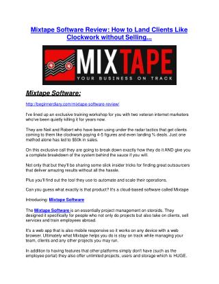 Mixtape Software Review – (Truth) of Mixtape Software and Bonus