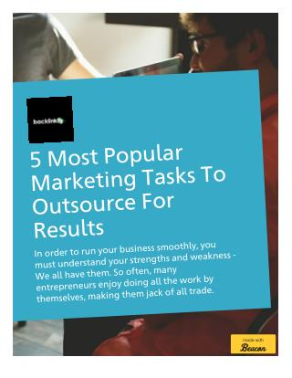 5 Most Popular Marketing Tasks To Outsource For Better Results