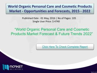 World Organic Personal Care and Cosmetic Products Market Opportunities & Growth 2022
