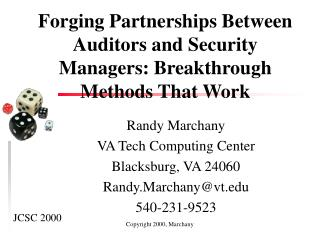 Forging Partnerships Between Auditors and Security Managers
