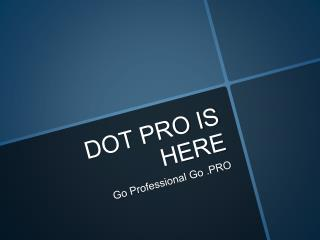 DOT PRO IS HERE: GO PROFESSIONAL GO PRO