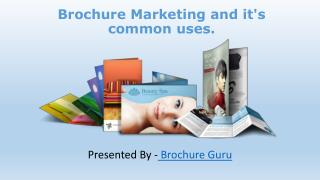 Brochure Marketing and it's common uses.
