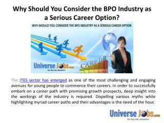 Why Should You Consider the BPO Industry as a Serious Career Option?