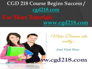 CGD 218 Course Begins Success / cgd218dotcom