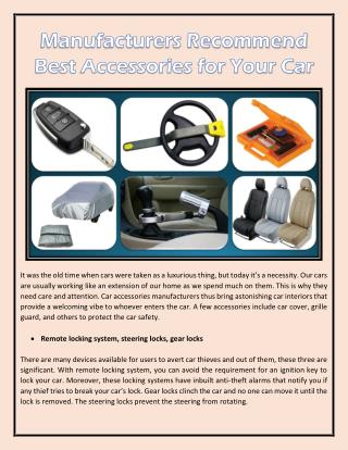 Manufacturers Recommend Best Accessories for Your Car
