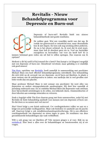 Revitalis - Nieuw Behandelprogramma voor Depressie en Burn-out