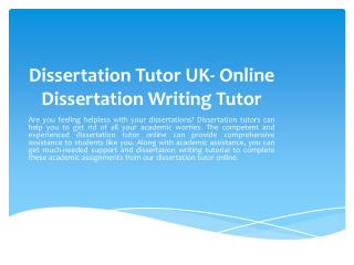 How Dissertation Tutors Can Help me?