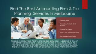 Find The Best Accounting Firm & Tax Planning  Services In Melbourne