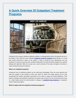 A Quick Overview Of Outpatient Treatment Programs