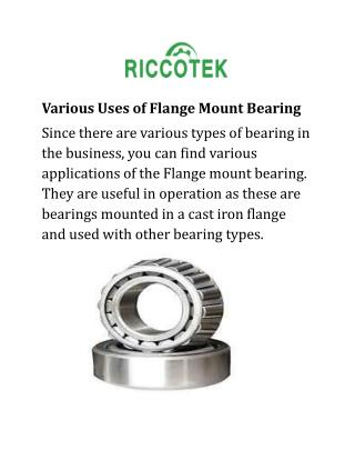 Various Uses of Flange Mount Bearing