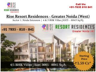 Golf Facing Villas at Rise Resort Residences in Greater Noida
