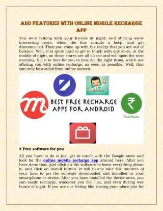 Add Features With Online Mobile Recharge App