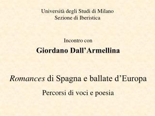 Universit  degli Studi di Milano Sezione di Iberistica